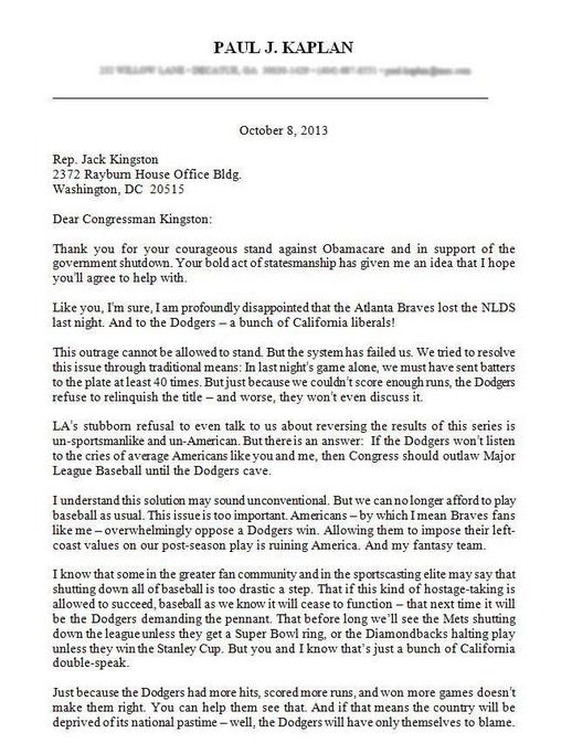 Baseball Playoffs Shutdown Letter 10-09-13