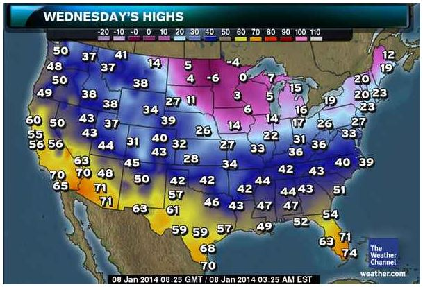 Weather Channel -- Highs 01-08-14