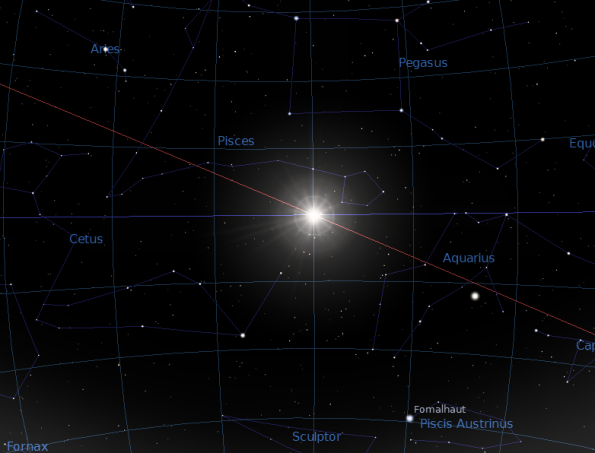 The sun at the vernal equinox point in the sky. The horizontal line the sun is crossing is the celestial equator. The red line is the sun's path, the ecliptic. The sun is heading to the upper left. Created using Stellarium.