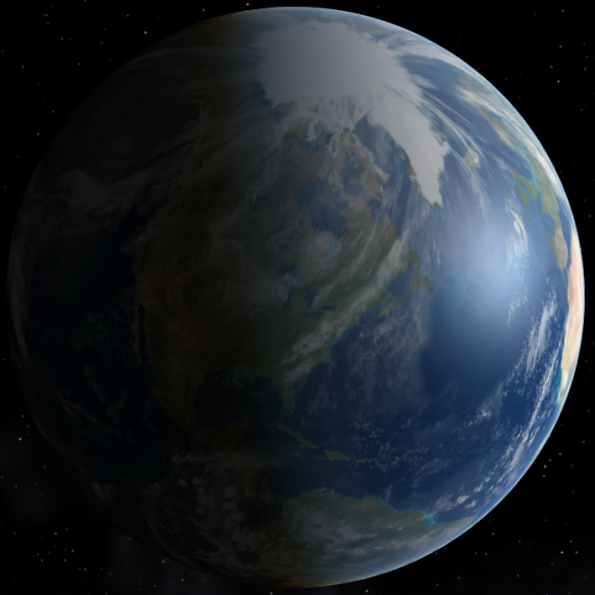 The earth centered on Michigan at 6:52 a.m. EDT, June 21, 2014 the moment of the summer solstice. Created using Celestia.