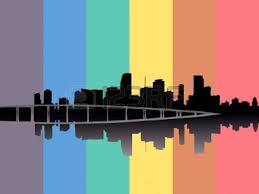 Rainbow Flag Miami Skyline