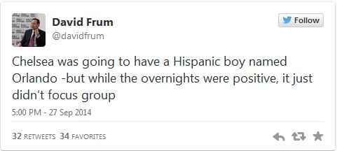 David Frum Tweet Chelsea Clinton 09-29-14