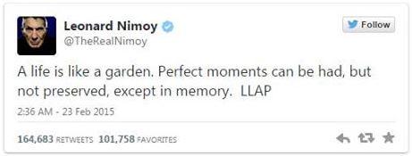 Nimoy Last Tweet 02-28-15