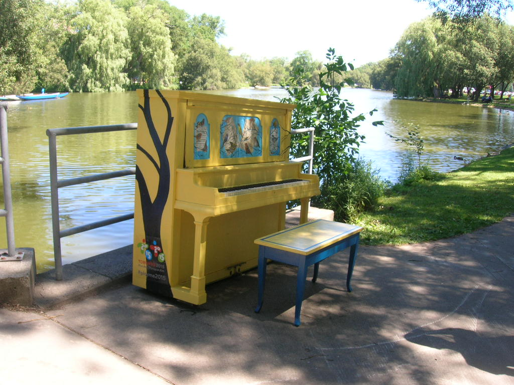 One of the many pianos around the town for public use.
