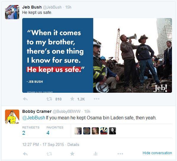 Jeb Safe Tweet 09-18-15
