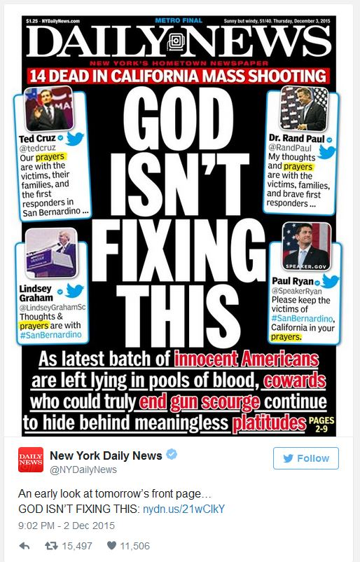 God Isn't Fixing This NY Daily News 12-03-15