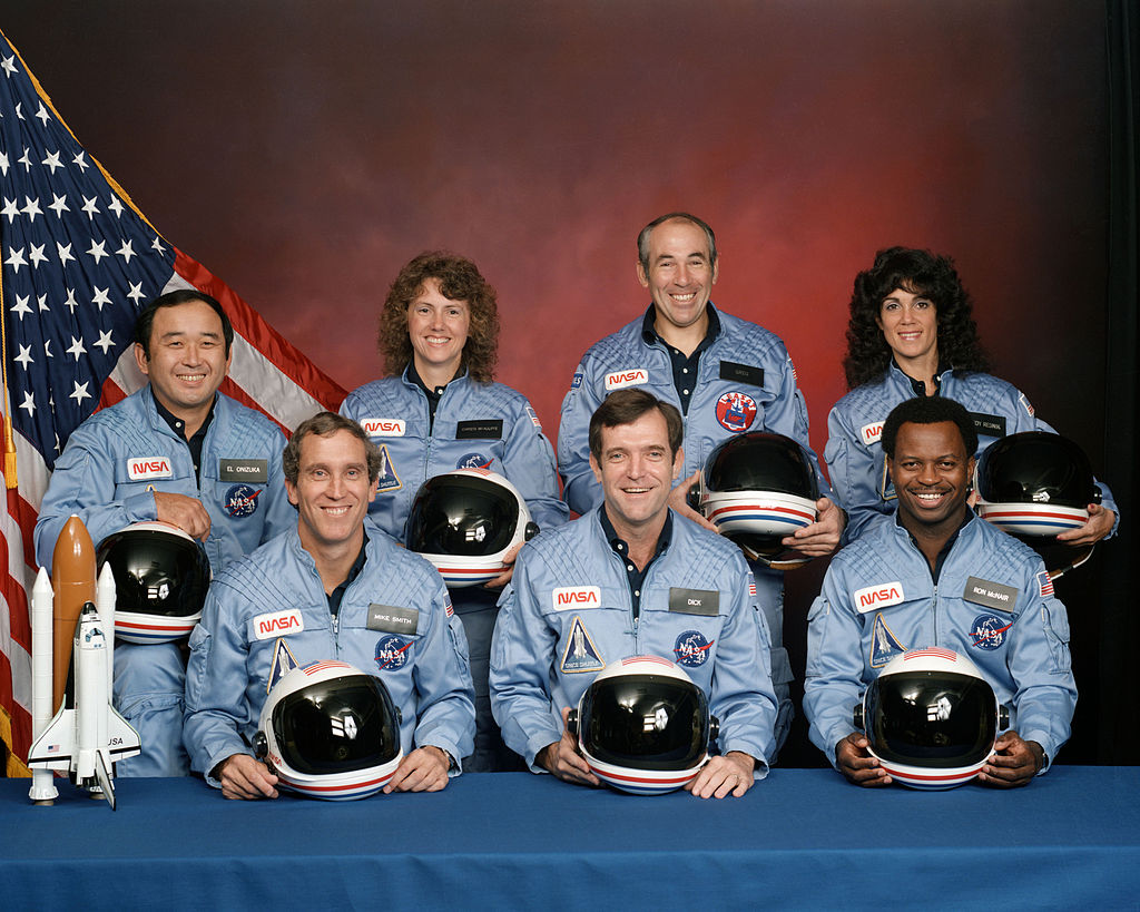 STS-51-L crew: (front row) Michael J. Smith, Dick Scobee, Ronald McNair; (back row) Ellison Onizuka, Christa McAuliffe, Gregory Jarvis, Judith Resnik.