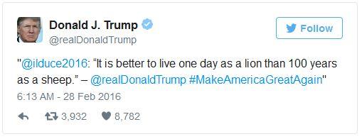 Trump Retweets Mussolini 02-29-16