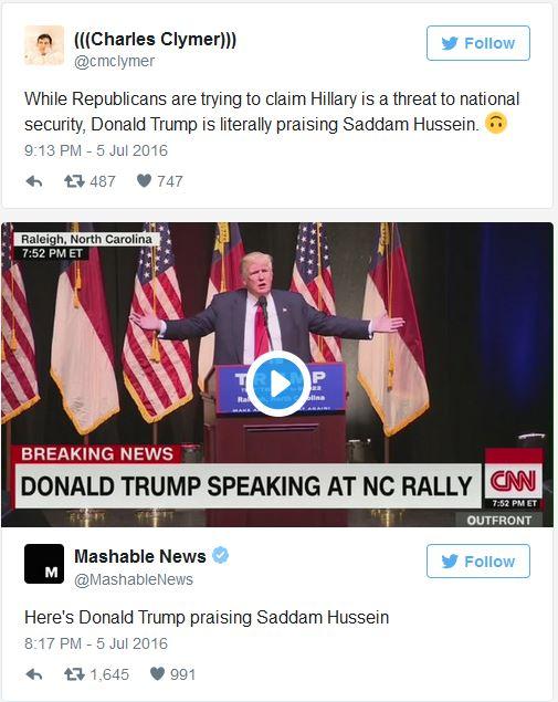 Trump Praising Saddam Hussein 07-07-16